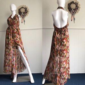 Glamorous Split Max flowing  Dark Floral  Dress• 8